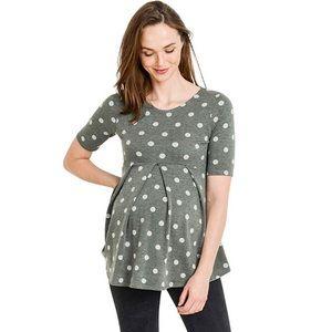 Green Polka Dot Maternity Knit Top La Clef L